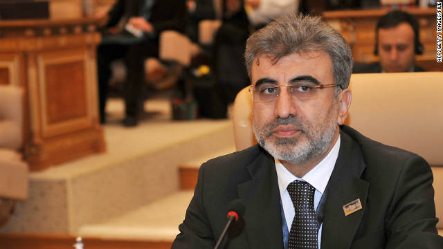 Turkish Energy Minister Taner Yildiz, pictured in February,  said Turkey may re-examine supplying Syria with electricity.