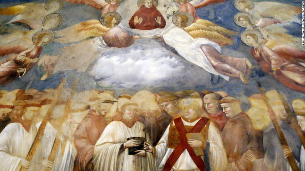 Giotto's fesco of the ascension of St. Francis in the Basilica of St. Francis in Assisi. <br /><br />A devil's face was recently discovered in the swirling cloud at the center of the fresco.