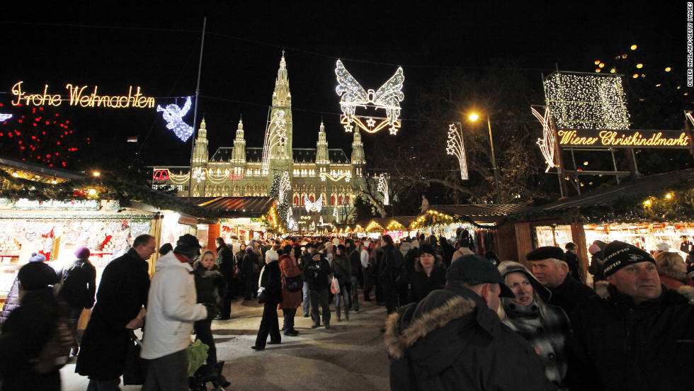 "The Vienna ""Christkindlmarkt"" in front of city hall opens in mid-November and runs through Christmas Eve."