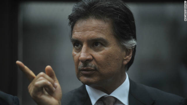 Alfonso Portillo during a hearing in court in Guatemala City