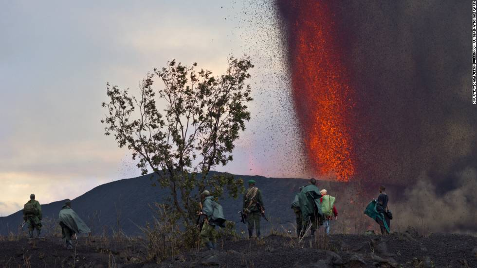 The team trek to the northern side of the volcano where tourists will be able to watch as red hot lava is spewed out of the Earth from as close as 1.5km away.
