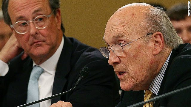 Former Sen. Alan Simpson, right, and Erskine Bowles take part in a hearing by the congressional debt reduction supercommittee Nov. 1.