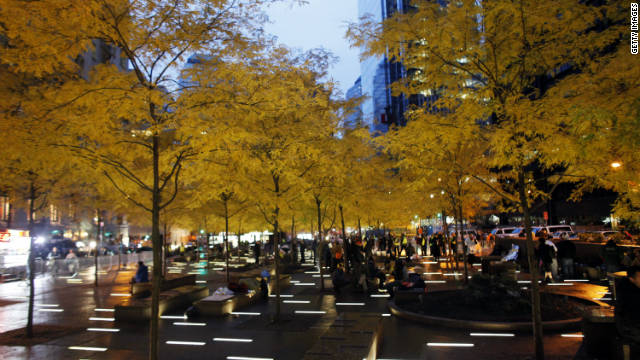 New York's Zuccotti Park is nearly empty at dawn on Wednesday.