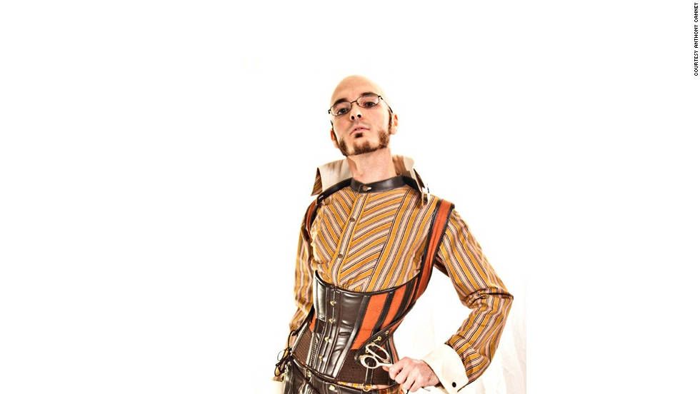 Steampunk designer Anthony Canney models one of his designs.