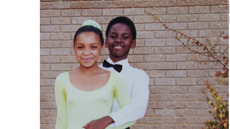Aged 11 with a young dancing partner. Ndlovu hopes through his continued success he can change perceptions about ballet and encourage more young children in South Africa to take up the art form.
