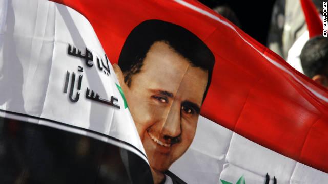 Syrians turned out in support of President Bashar al-Assad duringa rally in Damascus on Sunday.
