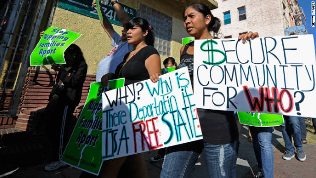 Protesters with Coalition for Humane Immigrant Rights of Los Angeles marched in August 2011.