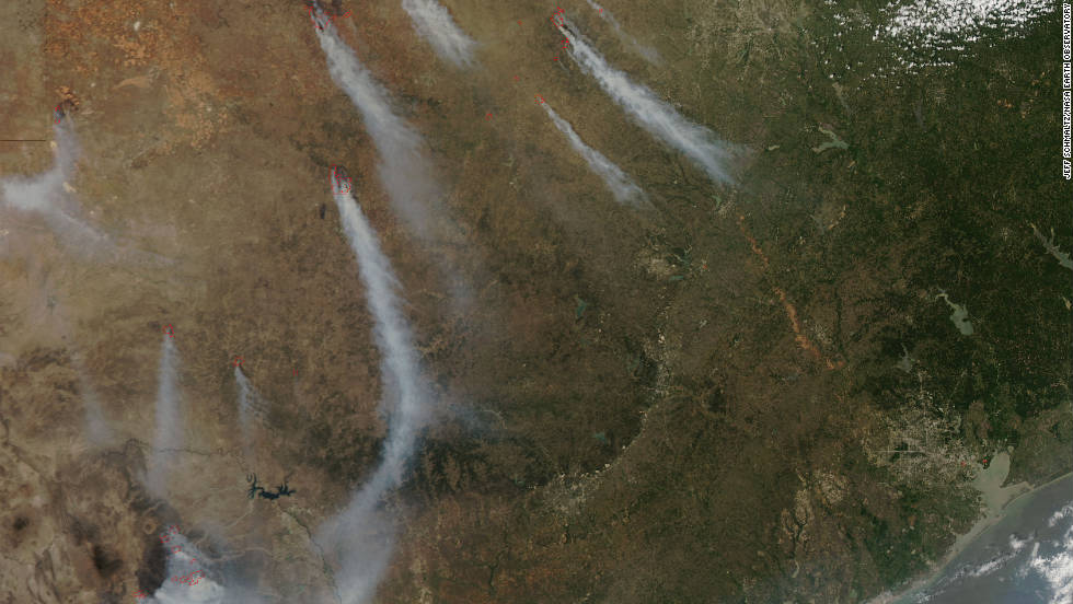 """We're actually seeing Texas <a href=""http://edition.cnn.com/2011/US/04/20/texas.fires/index.html"">burn from border to border.</a>.."" Texas Forest Service spokesperson April Saginor said. More than a million acres were burned in just over two weeks during April, according to the Forest Service. Strong winds, warm temperatures, dry vegetation, and low humidity also contributed to hazardous fire conditions, according to NASA."