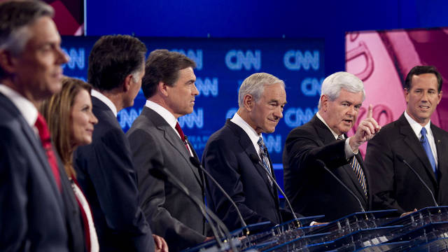 GOP candidates, shown at an earlier debate, will discuss foreign policy in another debate Tuesday evening.