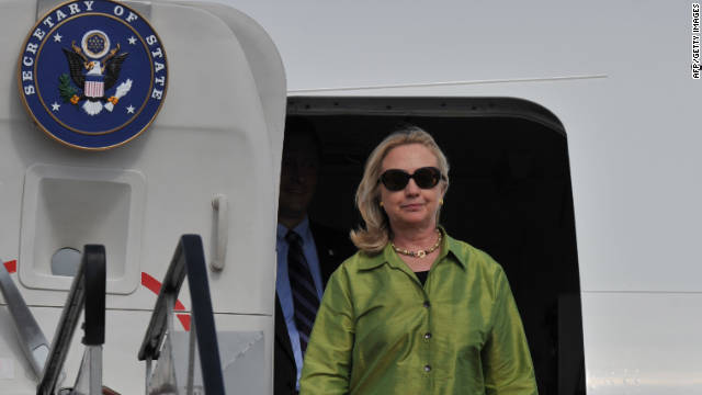 Secretary of State Hillary Clinton arriving at Bali air force base in Denpasar on Thursday.