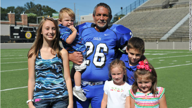 College football kicker is grandpa of 5