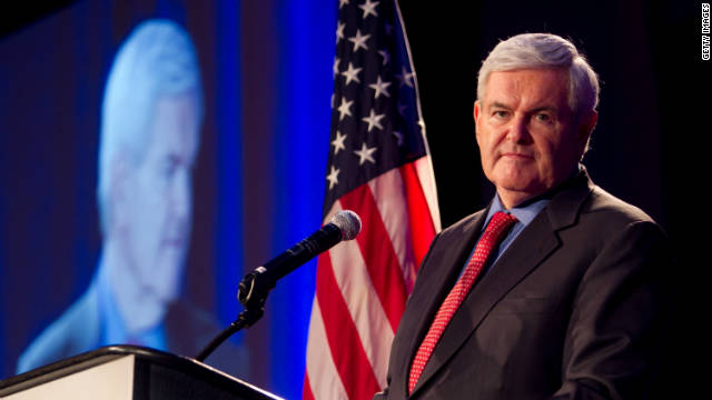 Former House Speaker Newt Gingrich gives the keynote address during the Georgia Republican Party Victory Dinner on May 13 in Macon.