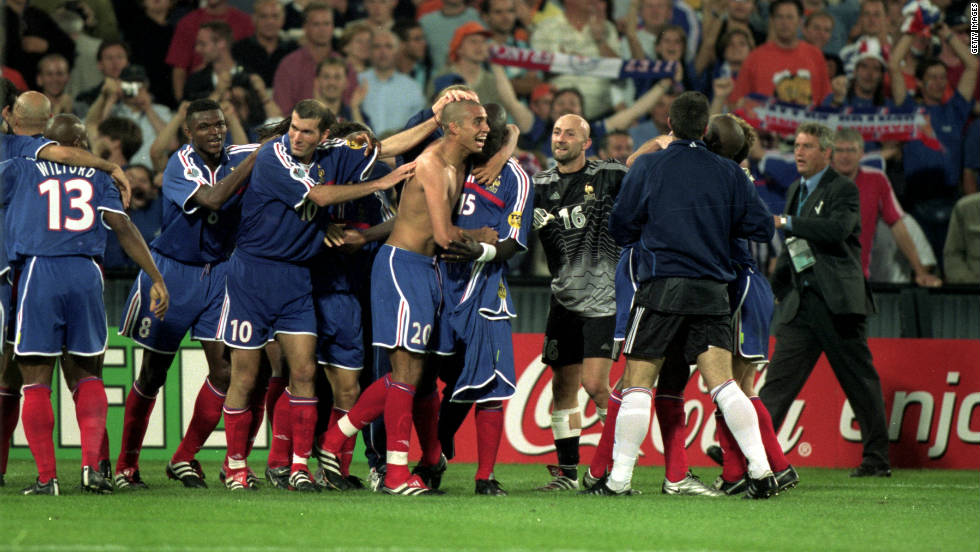 France went into Euro 2000 as hot favorites after winning the World Cup two years previously, but their hopes of victory looked over as Italy led 1-0 in the final going into injury time. However, Sylvain Wiltord leveled with virtually the last kick of the game and remarkably David Trezeguet then broke Italian hearts with the winning golden goal in extra time.
