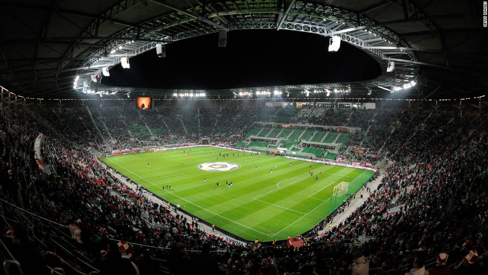 The Municipal Stadium in Wroclaw holds 42,000 fans and will be the venue for three Group A clashes.  Home to Polish team Slask Wroclaw, the arena was opened in September.