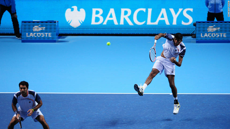 Barclays bank is the tournament's main sponsor, and Lacoste is another key partner. India's Rohan Bopanna smashes a return while doubles partner Aisam-ul-Haq Qureshi of Pakistan looks on.