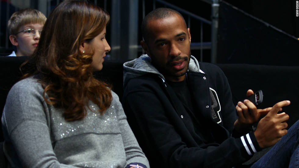The tournament has attracted celebrities including football star Thierry Henry, seen here with his friend Federer's wife Mirka. Singer Peter Gabriel, Britain's Princess Beatrice and boxer David Haye have also been spotted in the crowd along with a slew of Premier League footballers.