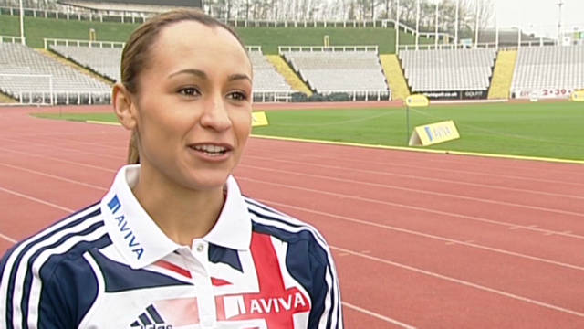 Jessica Ennis trains for the Olympics