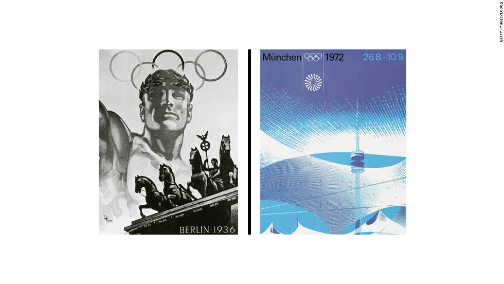 The poster used for the Berlin Games in 1936 and the one used for Munich 1972 show how art reflected political change in Germany between the two events.