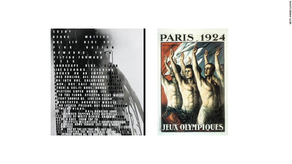 Fiona Banner was nominated for the prestigious Turner Prize in 2002 and her poster is next to the one designed for the Paris Games of 1924.