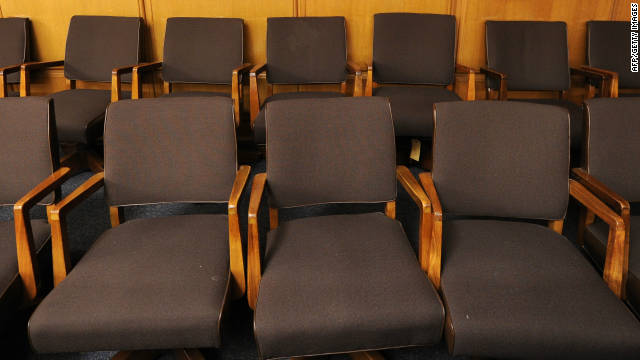 A view of a jury box in a downtown Los Angeles courtroom.