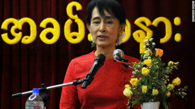 Myanmar's democracy icon, Aung San Suu Kyi, speaks at the National League for Democracy's party headquarters in the capital of Naypyidaw on November 20.