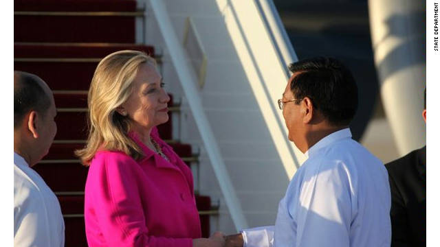 Secretary of State Hillary Clinton is greeted by Burmese Deputy Foreign Minister Dr. Myo Myint as she arrives in Nay Pyi Taw to begin her historic visit to Myanmar on Wednesday, November 30, 2011.