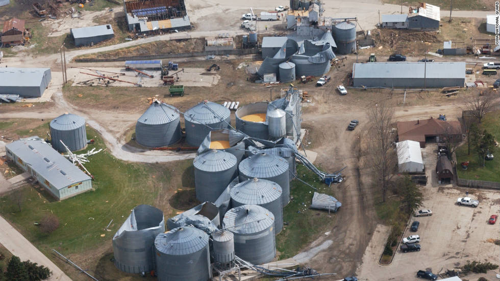 An estimated 59 tornadoes pummeled nine states in the central and southeastern United States, damaging more than 60% of the small town of Mapleton, Iowa, pictured here.  There were no deaths, but this twister outbreak caused more than $2.2 billion in damage.