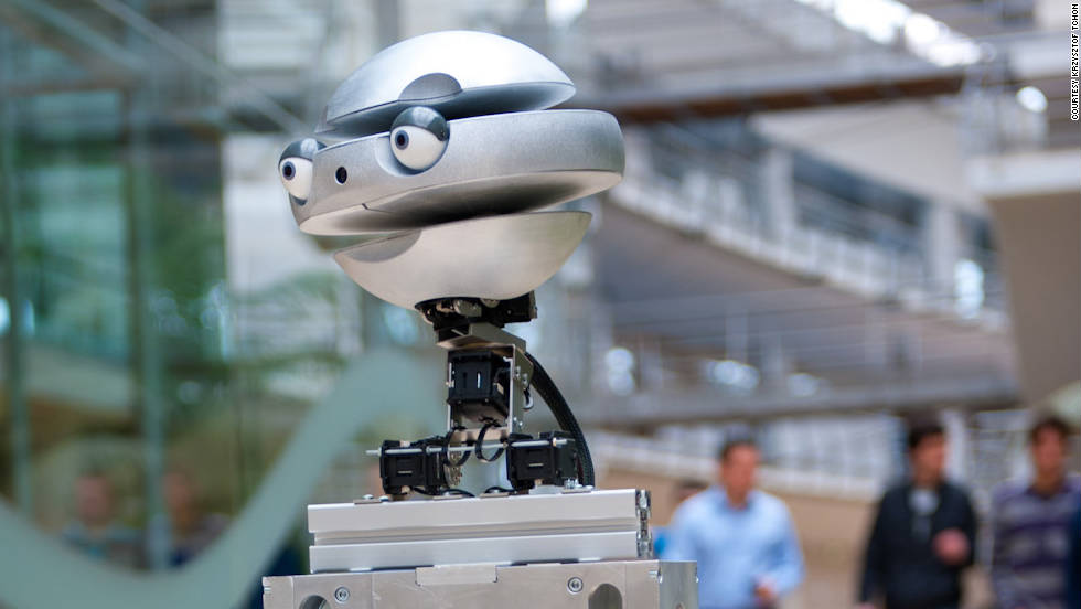 "Developed by Wroclaw University of Technology, in Poland, ""Flash"" has a selection of robotic heads that show different emotions. It's part of a project that aims to better understand how humans recognize emotions and to teach robots to read social situations."