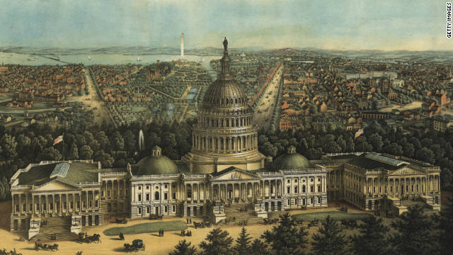 A bird's-eye view of Washington, in an 1871 illustration.