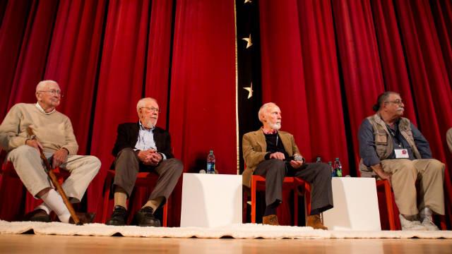 Artists Jack Davis, Al Jaffee, Paul Coker and Sergio Aragones give a presentation at SCAD.