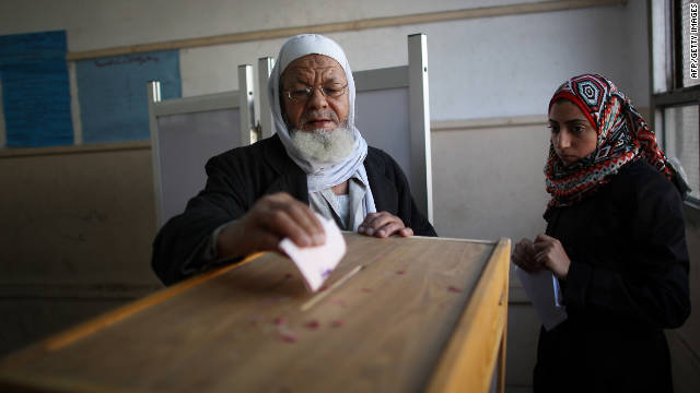 An Egyptian man votes on November 29 in the country's first elections since the fall of long-time President Hosni Mubarak.