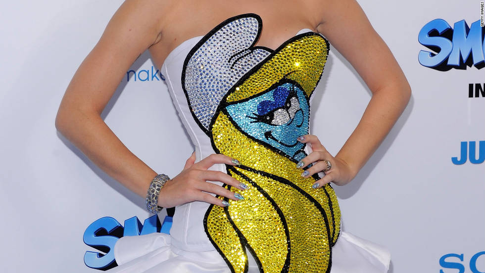 "At the premiere of ""The Smurfs"" movie in New York in July, Perry dons a <a href=""http://marquee.blogs.cnn.com/2011/07/25/katy-perry%E2%80%99s-smurf-tastic-look/"" target=""_blank"">Smurfette dress and nails</a> as well as a lighter ginger hue."