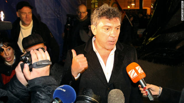 Russian opposition leader Boris Nemtsov speaks with journalists during an opposition rally in central Moscow on December 5, 2011.