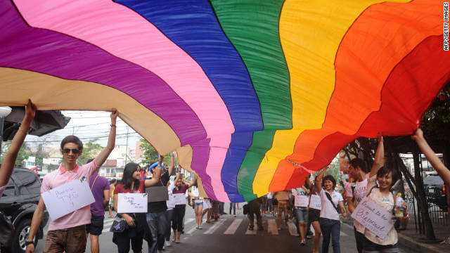 Supporters take part in an annual gay pride march in Manila, Philippines. Saturday is Human Rights Day.