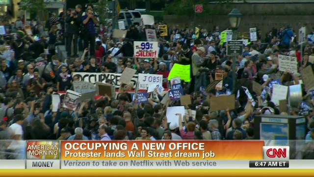 Occupy protester gets job on Wall Street