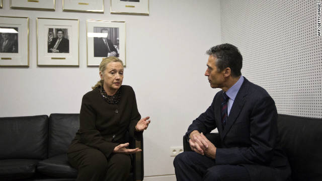 U.S. Secretary of State Hillary Clinton meets with NATO Secretary General Anders Fogh Rasmussen  in Brussels