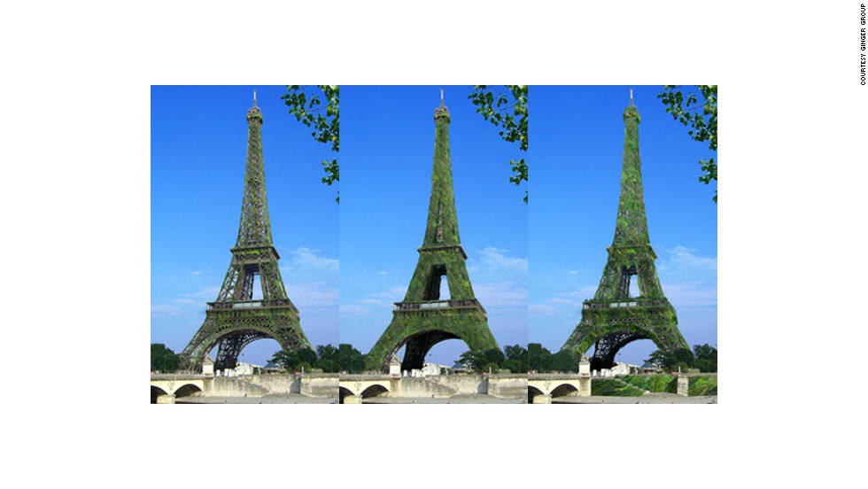 The Eiffel Tower as it would look over time with 600,000 plants growing on it.