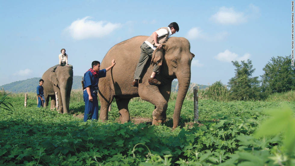 Guests at Four Seasons Tented Camp Golden Triangle in Thailand can learn to drive an elephant.