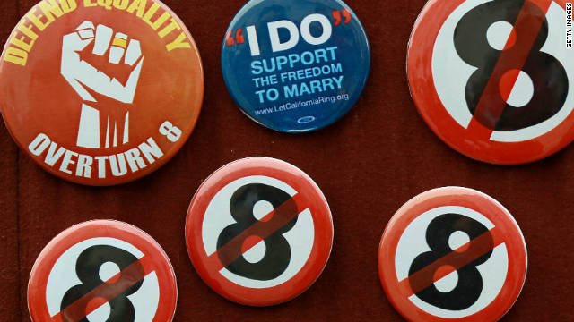 Buttons opposing California's Proposition 8 are displayed during a rally last year in San Francisco.