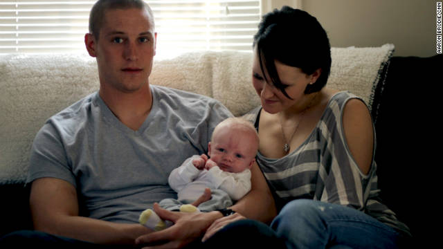 Still in Iraq, Josh wasn't able to see his son in Texas until weeks after the baby's birth.