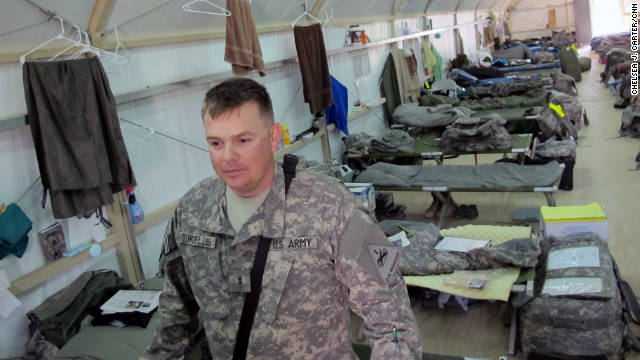 Nathan prepares to pack up and leave Camp Virginia after his last tour in Iraq in November.