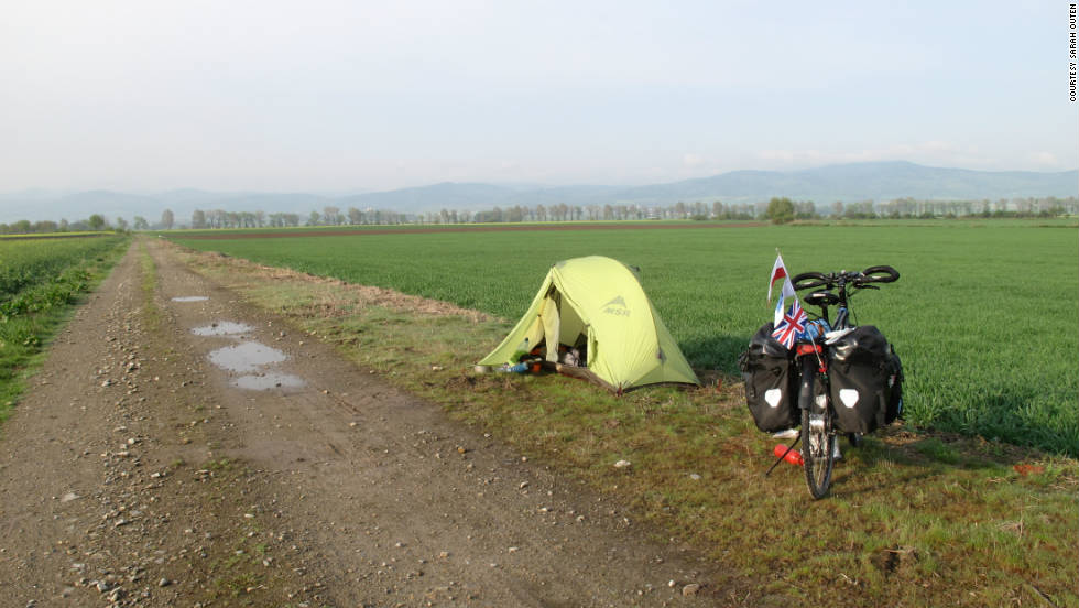 Along the way Outen says she has had to camp wherever there is a good site. Here a makeshift campsite is made by the roadside in Poland on April 27, 2011.