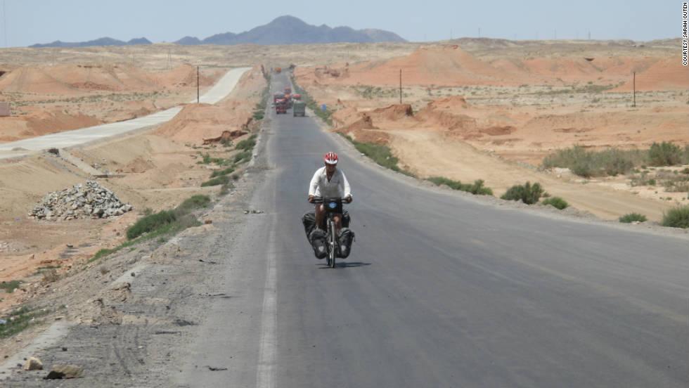 Cycling through the Gobi desert in China.