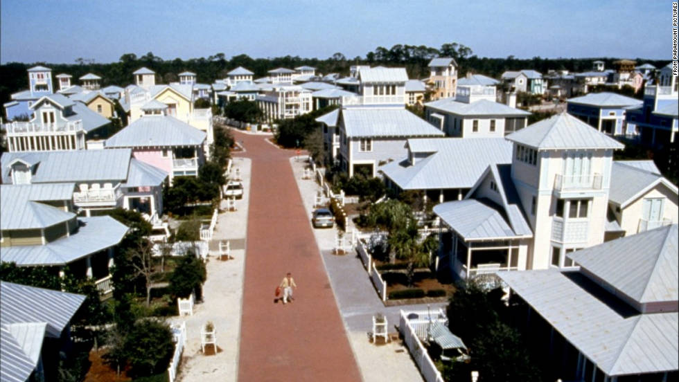 "Jim Carrey, as the unknowing star of a reality show in this 1998 film, flees his perfect little town to find out who he really is. The town, incidentally, was played by Seaside, Florida, one of many ""New Urbanism"" communities to have sprung up in the last two decades in response to the monotonous sprawl of the initial postwar suburbs."
