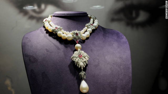 La Peregrina, a Cartier necklace from the Elizabeth Taylor collection, sits on display at Christie's Auction House in New York.