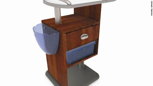 Michael Graves designed this hospital bedside cabinet with rounded edges and handles.