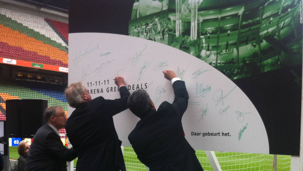 "It has a deal to install its ""sugar seats"" at Amsterdam ArenA, home of Ajax football club. Dignitaries signed up at 11 a.m. on November 11, 2011 -- which was Sustainability Day in the Netherlands."