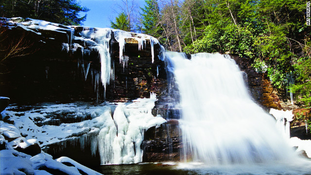 It's an easy hike to Muddy Creek Falls, which often freezes this time of year.