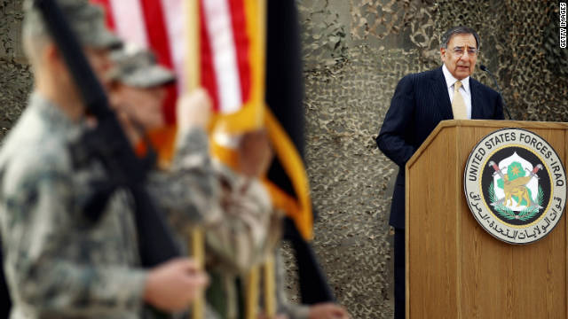 BAGHDAD, IRAQ - DECEMBER 15: US Defense Secretary, Leon E. Panetta speaks after the United States Forces- Iraq flag was retired during a casing ceremony signifying the departure of United States troops from Iraq at the former Sather Air Base on December 15, 2011 in Baghdad, Iraq. United States forces are scheduled to entirely depart Iraq by December 31, there are currently around 4,000 troops remaining in Iraq. (Photo by Mario Tama/Getty Images)