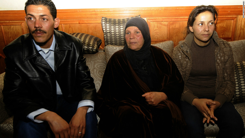 Bouazizi's brother Salem (L), his mother Manoubia (C) and his sister Leila meet with U.N. Secretary-General Ban Ki-moon (not pictured) on March 22, 2011 in Tunis. The U.N. chief arrived in Tunisia late on March 21 to meet the country's transitional authorities.